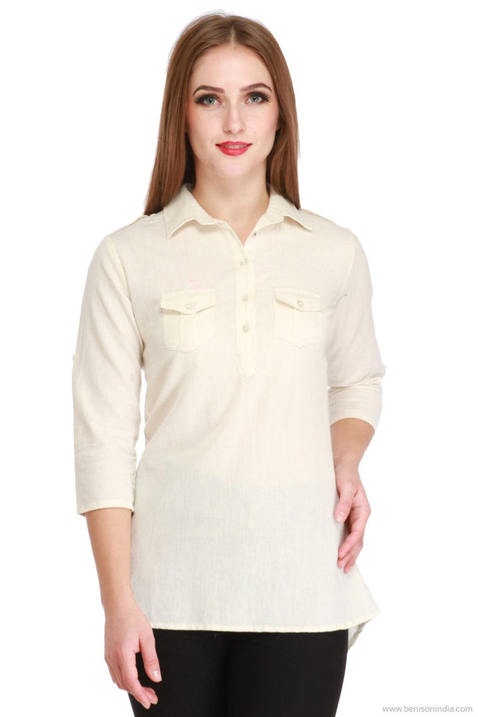 Benison India Latest High Low Collared Casual Top (Lenin)-Benison India-Benison India