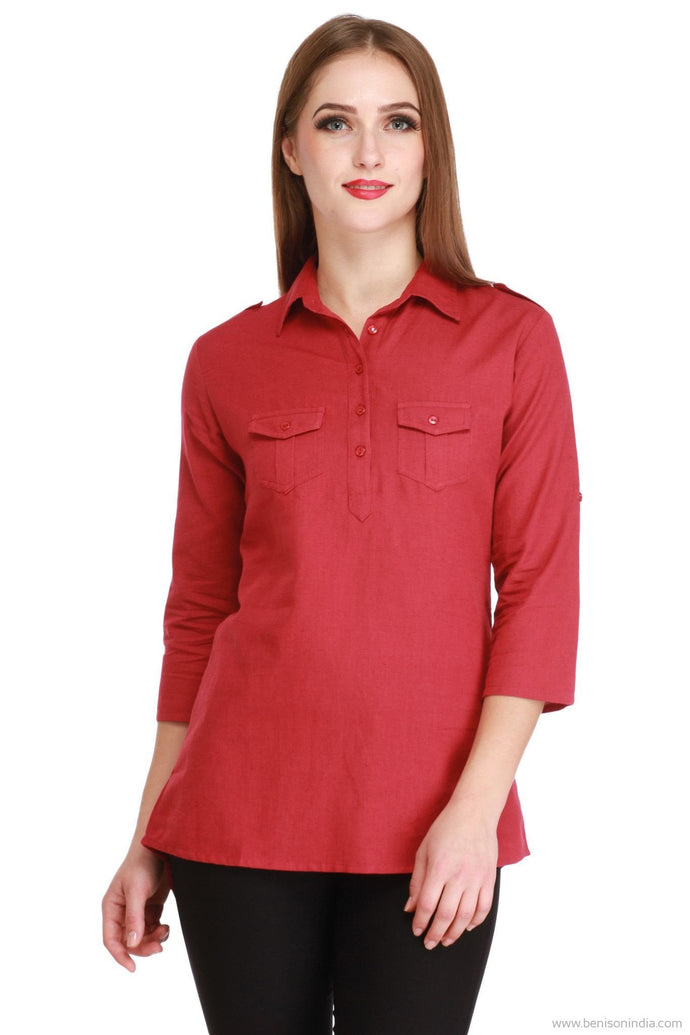 Benison India Latest Lenin High Low Casual Red Top-Benison India-Benison India