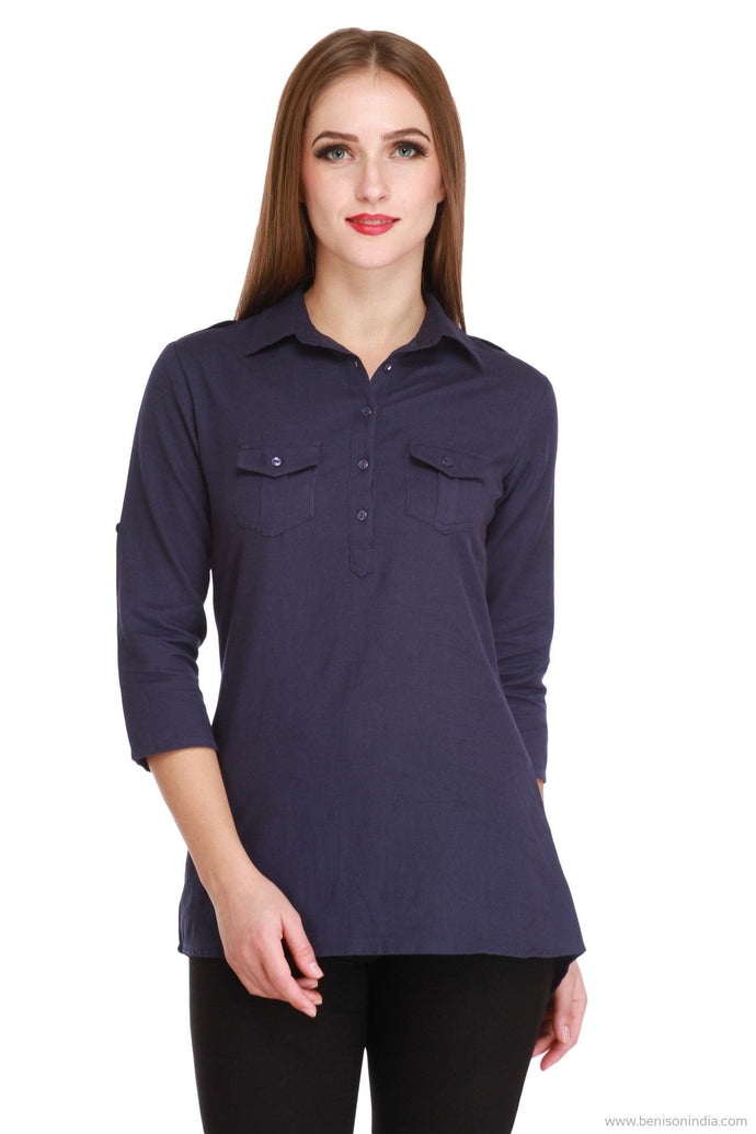 Benison India Latest Royal Blue Lenin High Low Casual Top-Benison India-Benison India