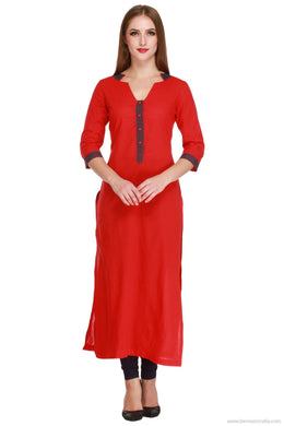 Benison India Latest Solid Red Long Straight Kurti-Benison India-Benison India