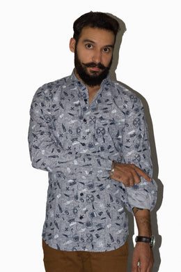 Benison India Men's Full Sleeve Casual Printed Multicolor Shirt-Men's Clothing-LeebaZone-Benison India