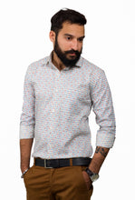 Benison India Men's Full Sleeve Casual Printed Multicolor White Shirt-Men's Clothing-LeebaZone-Benison India