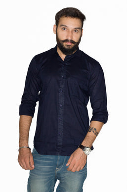 Benison India Men's Full Sleeve Casual Solid Dark Blue Shirt-Men's Clothing-LeebaZone-Benison India