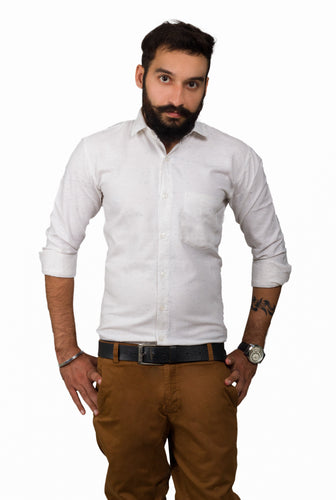 Benison India Men's Full Sleeve Casual Solid White Shirt-Men's Clothing-LeebaZone-Benison India