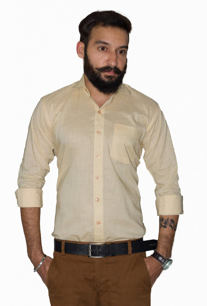 Benison India Men's Full Sleeve Casual Solid Yellow Shirt-Men's Clothing-LeebaZone-Benison India