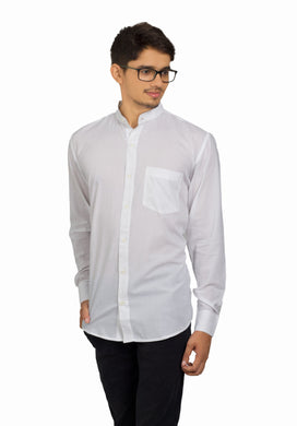 Benison India Men's Solid Full Sleeve Solid White Shirt-Men's Clothing-LeebaZone-Benison India