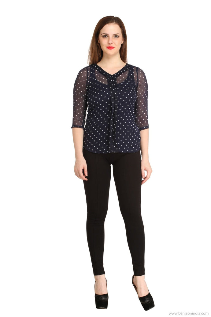 Benison India Navy Blue Polka Dotted Casual Top-Benison India-Benison India