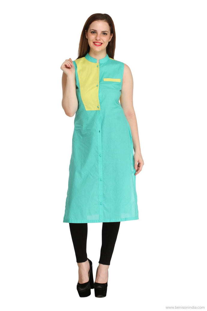 Benison India New Aqua and Yellow Colour Block Kurti-Benison India-Benison India
