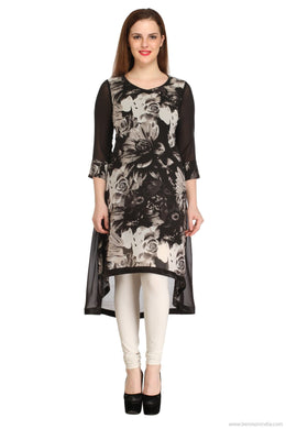 Benison India New Black and White High Low Floral Kurti-Benison India-Benison India