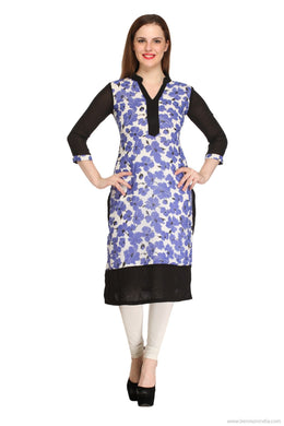 Benison India New Blue and Black Floral Princess Cut Kurti-Benison India-Benison India