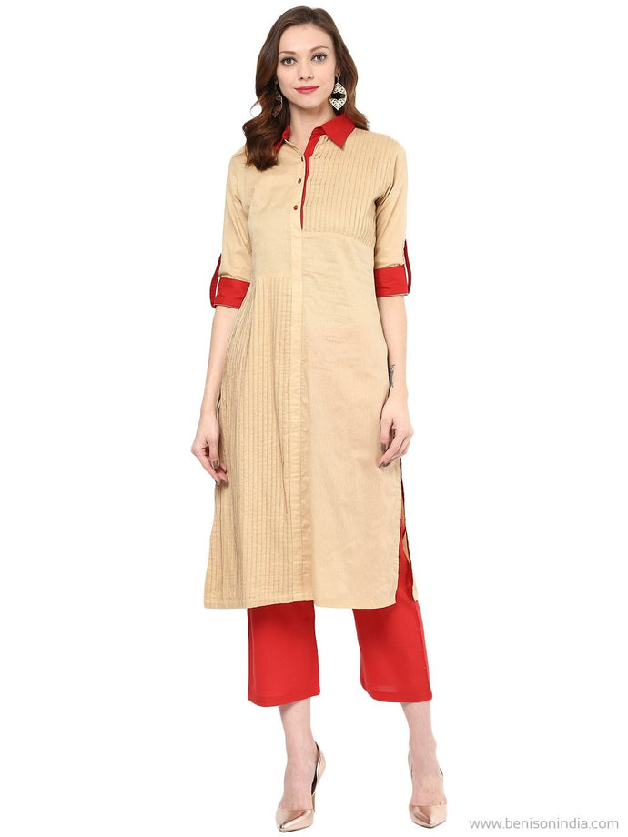Benison India New Collared Beige and Red Pintex Kurti-Benison India-Benison India