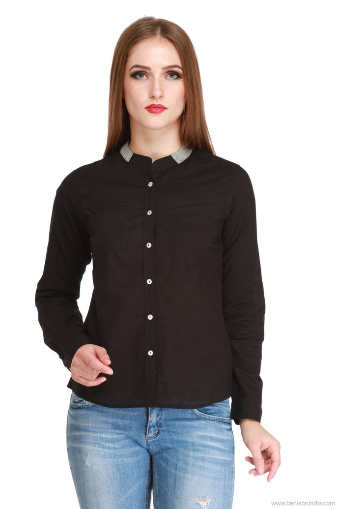 Benison India New Mandarin Cotton Black Shirt-Benison India-Benison India