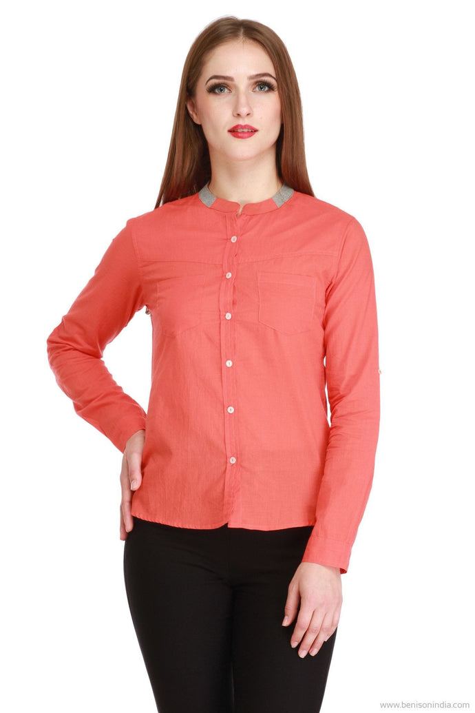 Benison India New Mandarin Cotton Peach Shirt-Benison India-Benison India