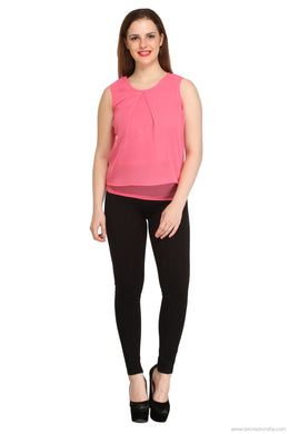 Benison India New Solid Pink Layered Top-Benison India-Benison India