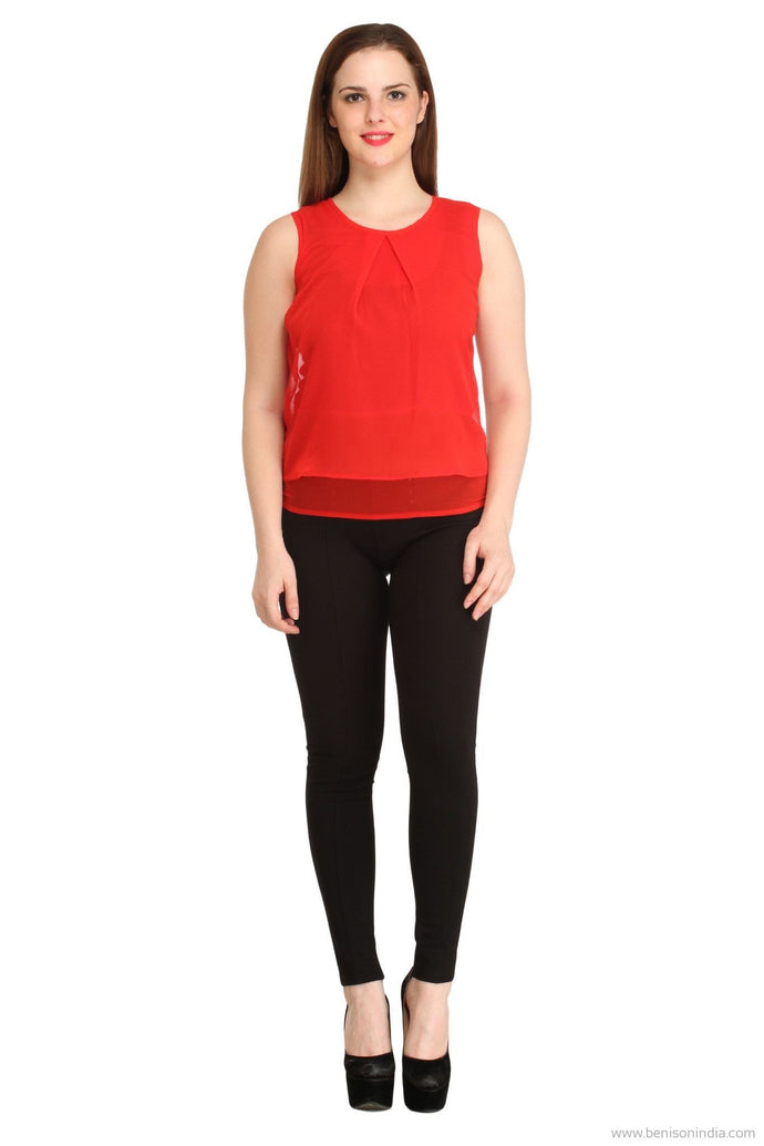 Benison India New Solid Red Layered Top-Benison India-Benison India