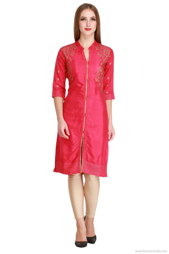 Benison India New Trendy Solid Red Colour Kurti with Golden Print and Button Work-Benison India-Benison India