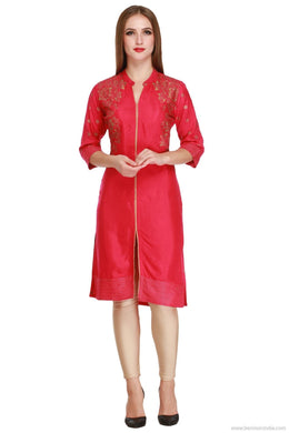 Benison India New Trendy Solid Red Colour Kurti with Golden Print-Benison India-Benison India