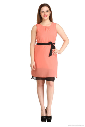 Benison India Orange and Black layered Waist Bow Dress-Benison India-Benison India