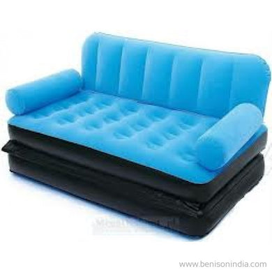 Original Velvet Inflatable sofa large pull out sofa cum air lounge inflatable bed -Blue | Benison India