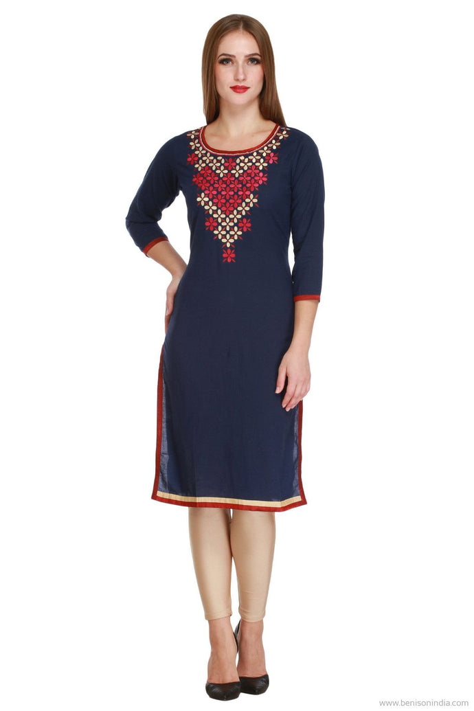 Benison India Royal Blue Cotton Kurti with Red and Cream Thread work-Benison India-Benison India