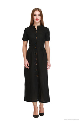 Benison India Solid Black Long Indo Western Kurti-Benison India-Benison India