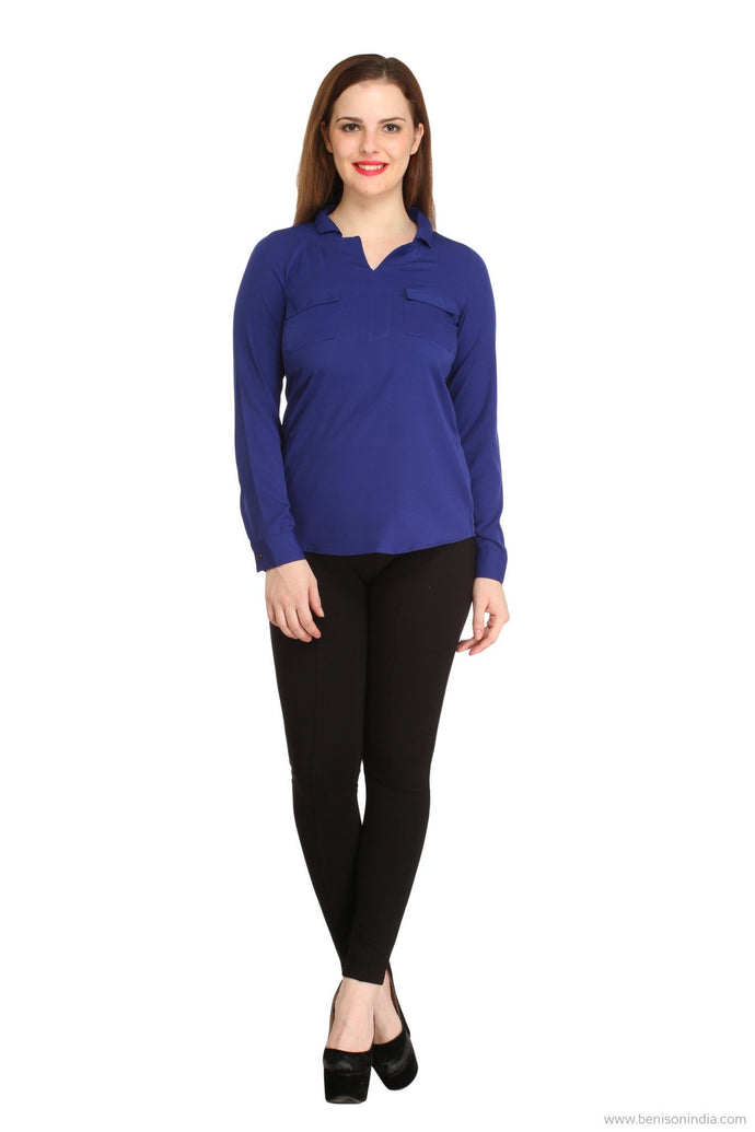 Benison India Solid Blue Two Pocket Casual Top-Benison India-Benison India