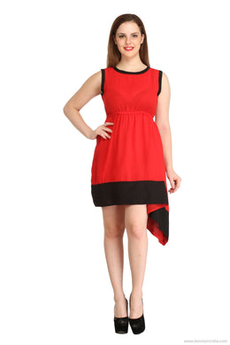 Benison India Solid Red And Black Tail Cut Dress-Benison India-Benison India