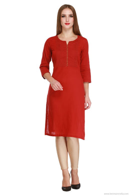 Benison India Solid Red Pintuck Kurti-Benison India-Benison India