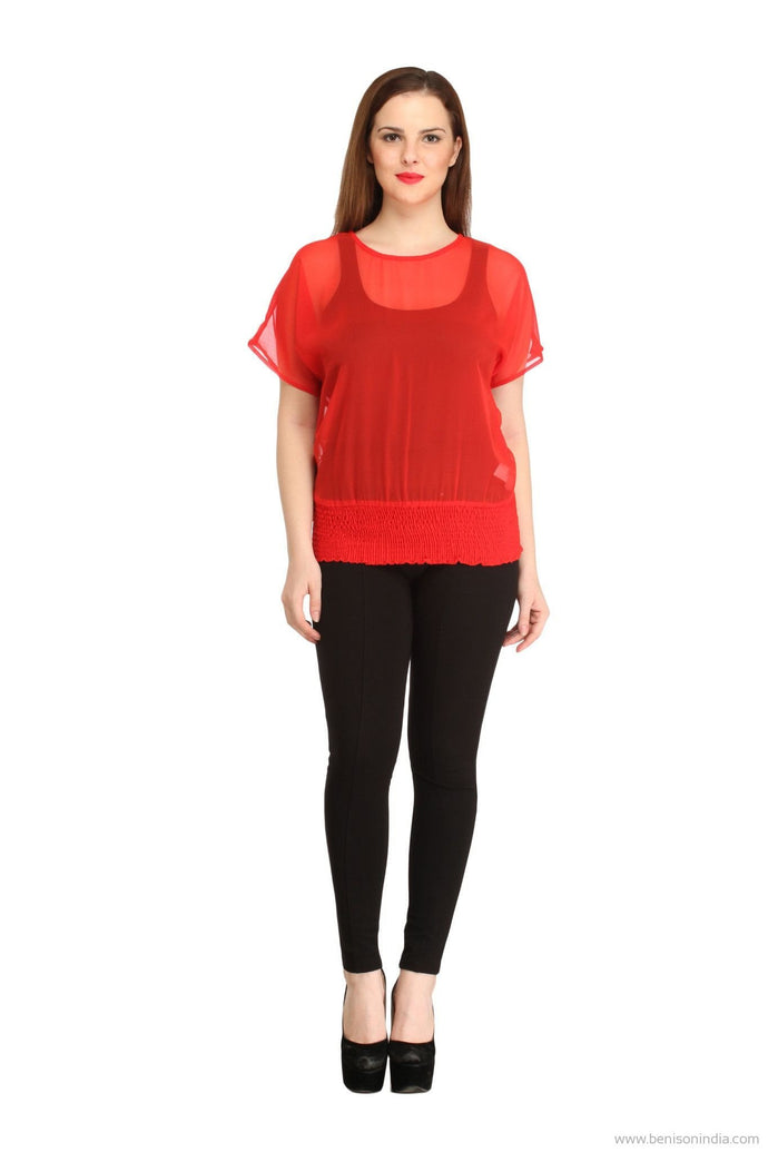 Benison India Solid Red Smocking Waist Top-Benison India-Benison India