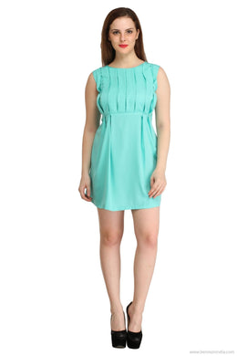 Benison India Solid Turquoise Frill Dress-Benison India-Benison India