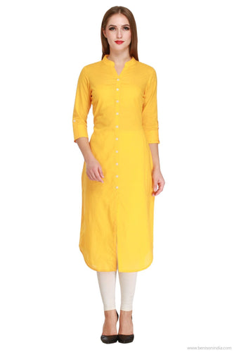 Benison India Solid Yellow Long Straight Kurti-Benison India-Benison India
