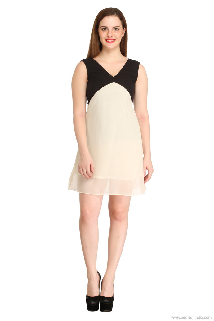 Benison India Trendy Black and white Oval Back Dress-Benison India-Benison India