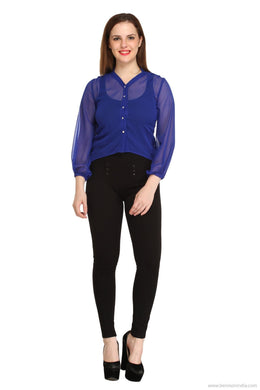 Benison India Trendy Blue Ruffle Casual Top-Benison India-Benison India