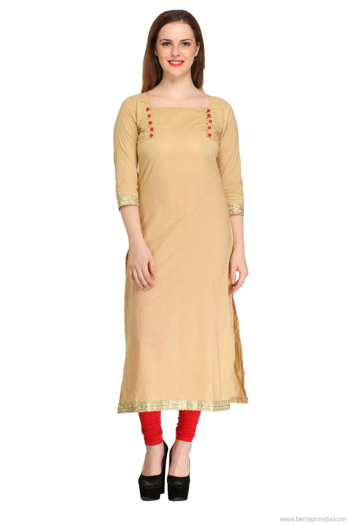 Benison India Trendy Ethnic Beige Long Kurti-Benison India-Benison India