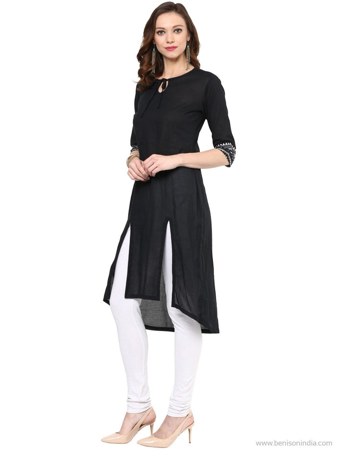 Benison India Trendy Front Two Slits Black Kurti-Benison India-Benison India
