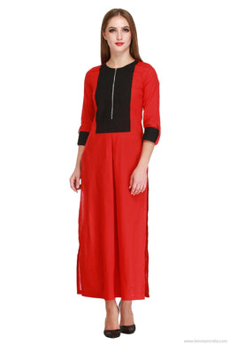 Benison India Trendy Red and Black Princess Kurti-Benison India-Benison India