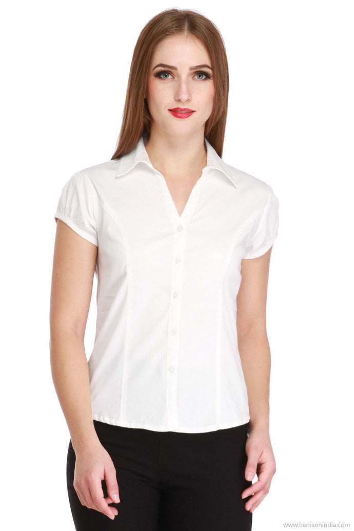 Benison India Trendy Short Sleeve Office Shirt (White)-Benison India-Benison India