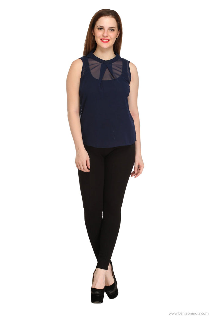Benison India Trendy Solid Navy Blue Casual Top-Benison India-Benison India