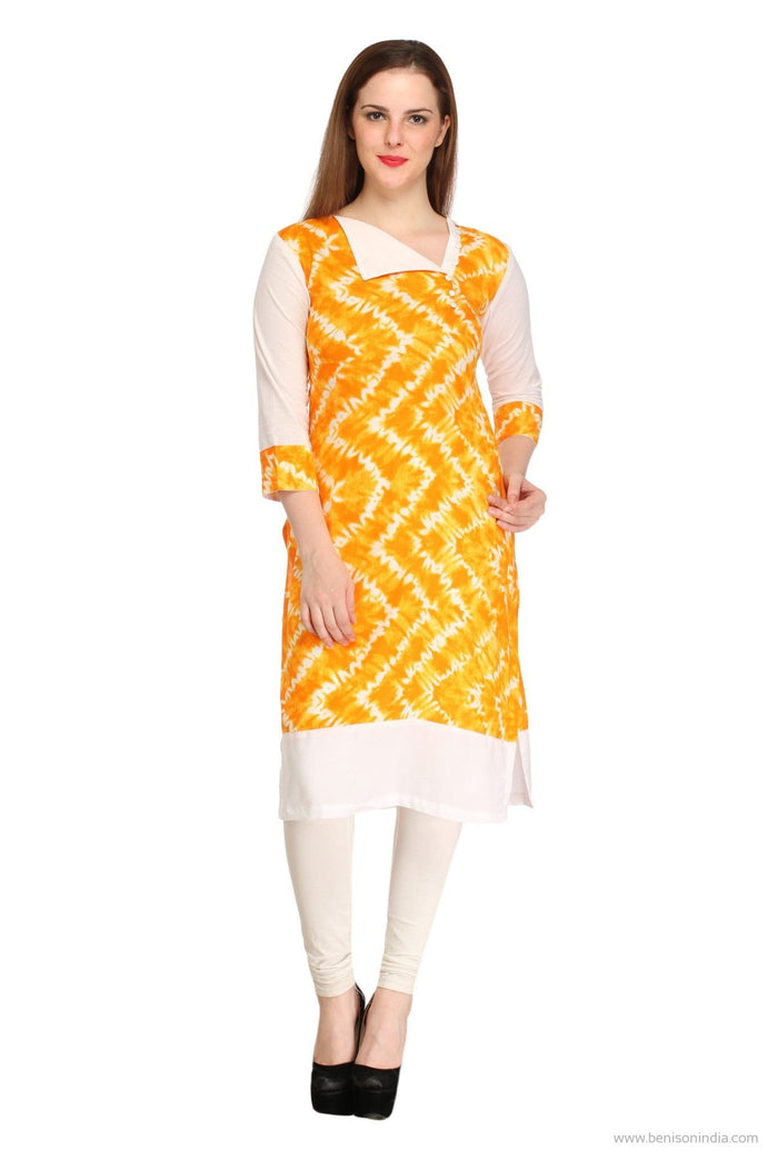 Benison India Trendy Yellow and White Knee Length Kurti-Benison India-Benison India