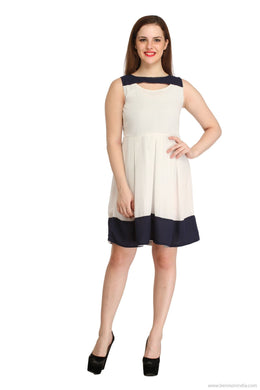 Benison India White and Navy Blue Knee length Frills Dress-Benison India-Benison India