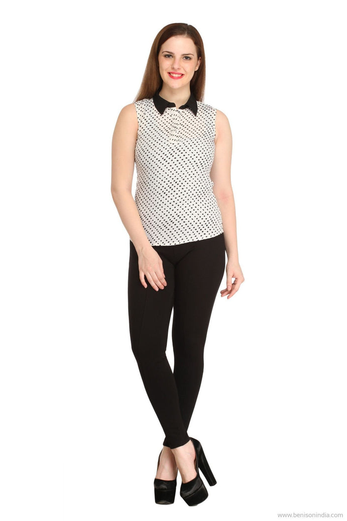 Benison India White Polka Dotted Collar Top-Benison India-Benison India