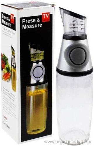Bension India High Precision No Drip Oil Bottle, Press and Measure Glass Dispenser Oil ; Vinegar Dispenser Set with Drip-Free Spouts | 1 Pack Includes 500ml Sized Bottle Olive Oil Dispenser Vinegar Bottle Press-Benison India-Benison India
