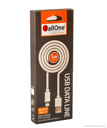 Callone Micro USB Data & Charging Cable-1 Mtr-Mobile Accessories-CallOne-Benison India