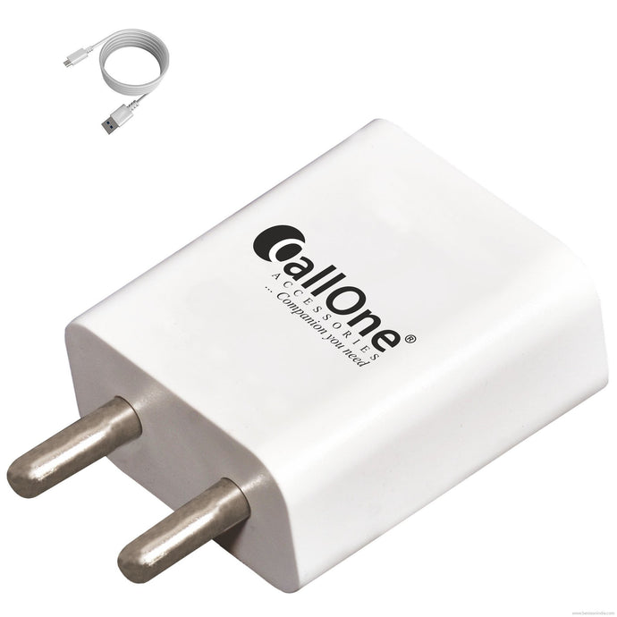 Callone Mobile Dual Micro USB Charger 2AMP-Mobile Accessories-Callone-White-Benison India