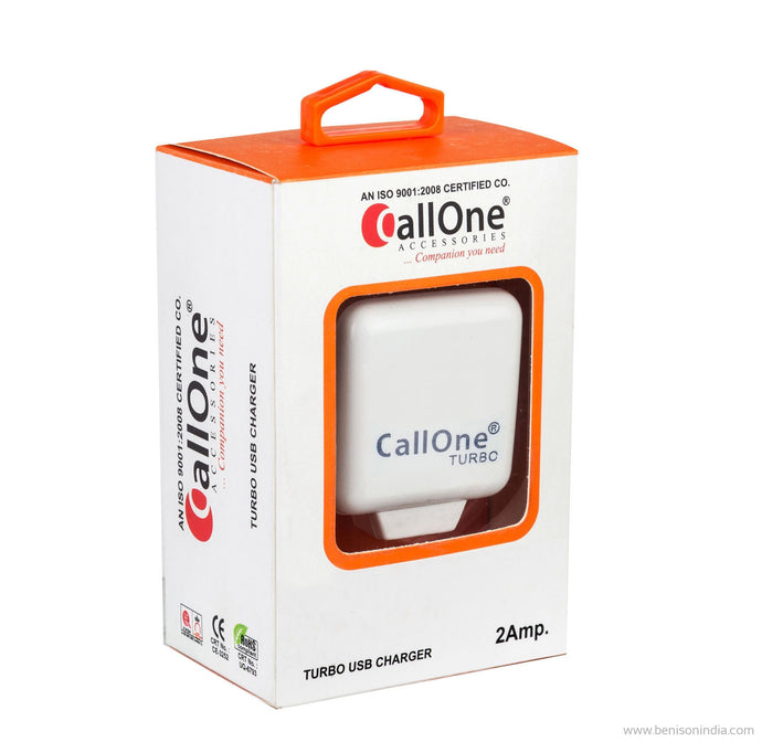CallOne USB Turbo Travel Charger-5V-2 AMP For Powering Smart Phones, Tablets, Mp3 Players, Gaming Systems, Ereaders And Notebooks-CallOne-Benison India