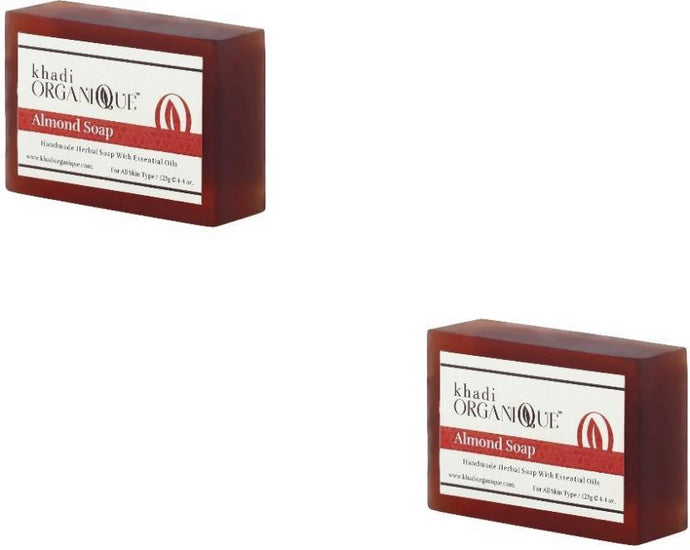Khadi Organique Almond Soap (Pack of 2)-Health & Personal Care-KHADI ORGANIQUE-2X125 gms-2 Soap-Maroon-Benison India