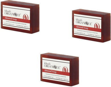 Khadi Organique Almond Soap (Pack of 3)-Health & Personal Care-KHADI ORGANIQUE-3X125 gms-3 Soap-Maroon-Benison India