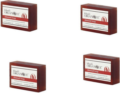 Khadi Organique Almond Soap (Pack of 4)-Health & Personal Care-KHADI ORGANIQUE-4X125 gms-4 Soap-Maroon-Benison India