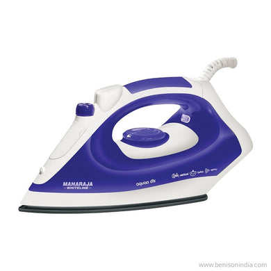 Maharaja Whiteline Aquao Deluxe SI-102 1400-Watt Steam Iron (White/Blue)by Maharaja White-Maharaja Whiteline-Benison India