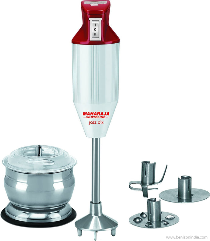Maharaja Whiteline Jazz Deluxe HB 106 125-Watt Hand Blender with Attachment (Red/White)-Maharaja Whiteline-Benison India